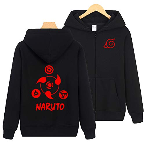 wywyet Pullover Anime Coat Long Sleeve Parent-Child Zip Outerwear with Hood Jacket Wear Unisex Naruto XL