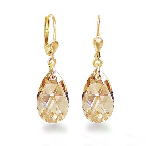 Schöner-SD, Ohrhänger Ohrringe hochwertig vergoldet mit 16mm Swarovski® Kristall Tropfen(Crystal Golden Shadow)