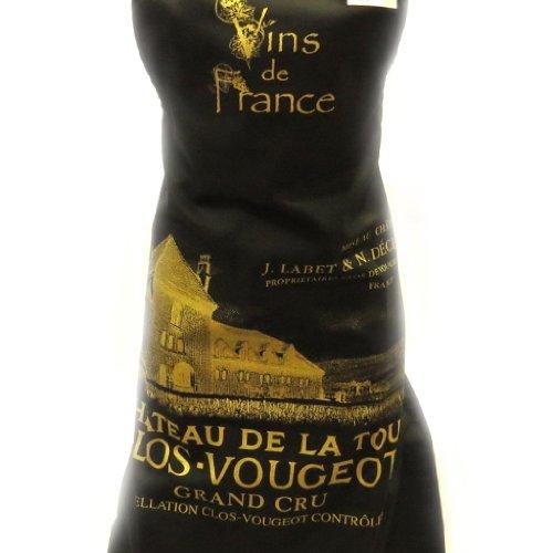 Delantal designer 'Chateau De La Tour - Clos Vougeot'negro.