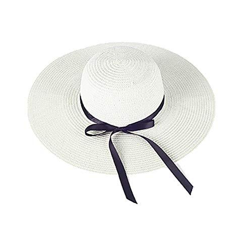 Haifly Damen Schleife Faltbar UV Schutz Sonnenhut Strohhut Strandhut Sommerhut Floppy Hut Weiß