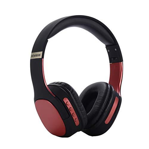 PPMM - Auriculares Bluetooth con micrófono de graves profundos inalámbricos sobre la oreja con cómodas almohadillas de proteína para viajes, trabajo, TV, teléfono móvil (4 colores), color rojo
