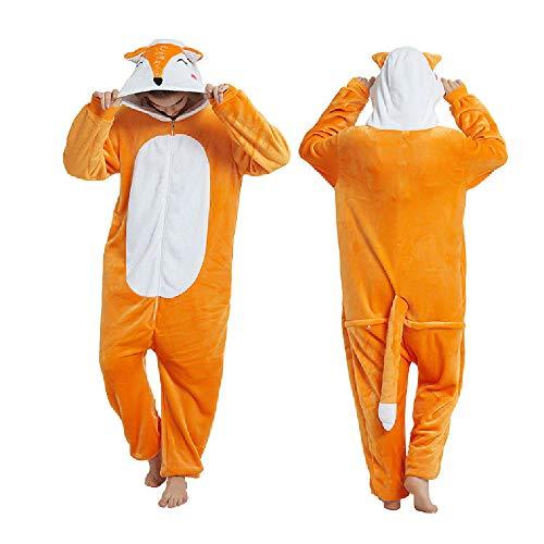 Pijama para Mujer Diseo De Animales Ropa De Casa para Dormir De Una Pieza, Disfraz De Cosplay para Fiesta Naranja Blanco Zorro