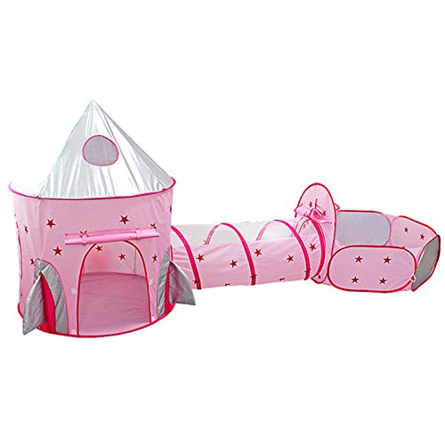 LANHA Princess Tent with Tunnel, Kids Castle Playhouse and Princess Dress up Pop Up Play Tent Set, for boys and girls indoor and outdoor - Pink
