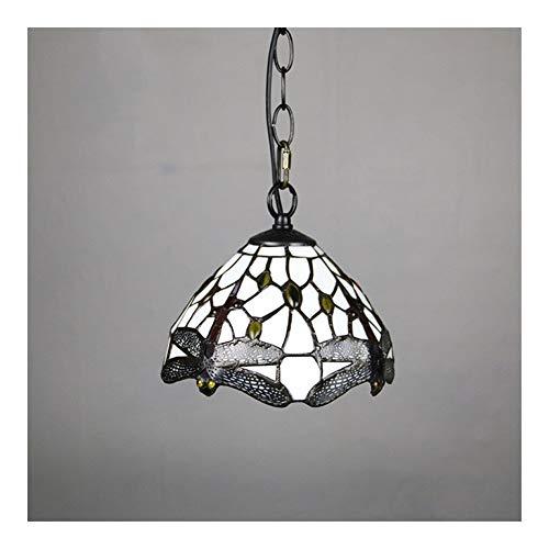 SCAYK 8 Pulgadas de Estilo Colgante Techo luz en Vintage libélula Vidrio Colgante lámpara lámpara Accesorio para Comedor Lámparas de Restaurante para dormitorios de Noche Lam