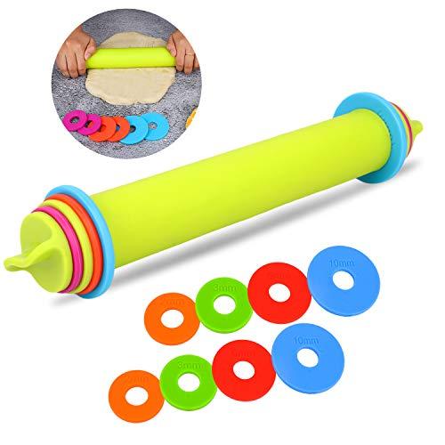 BYbrutek Einstellbares Nudelholz aus Silikon, Teigroller mit 4 Abstandshalter für Teigdicken, Anti-Haft, BPA-frei Backzubehör, 23cm