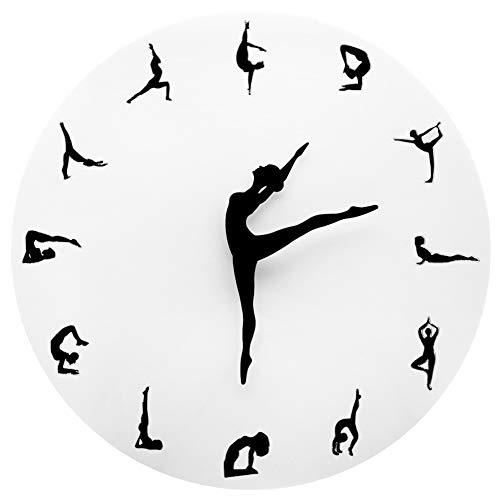 Vintage wandklok, geruisloos wandklok klok zonder tickgeluiden wandklok yoga postures wandklok flexibel meisje klok hoofddecoratie meditatie decor yoga studio geschenk