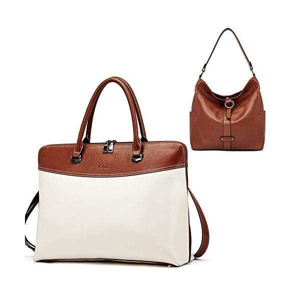 CLUCI Briefcase for Women Oil Wax Leather 15.6 Inch Laptop Business Vintage Slim Ladies Shoulder Bag Beige with Brown Handbags Purse for Women Designer Genuine Leather Brown 1