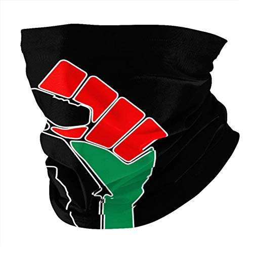 Black Power Fist Pan African Colors Flag Unisex Face Mask Head Scarves Scarf Sun UV Protection Reusable Half Mask Cycling Neck Gaiter