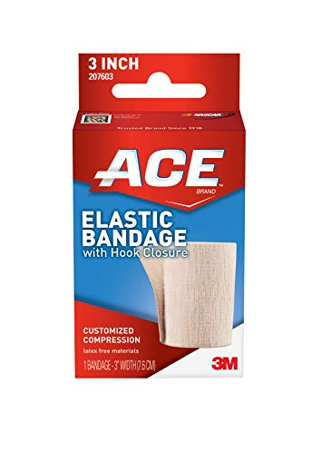 ACE 3 Inch Elastic Bandage with Hook Closure, Beige, Comfortable Design with Soft Feel, Wash and Reuse