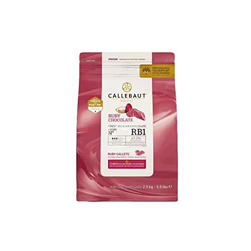 2,5 Kg Cioccolato Rosa Ruby Callebaut per Gelato e Pasticceria Pink Chocolate