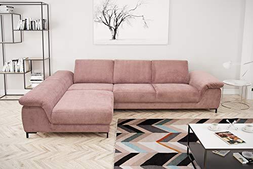 Domo Collection Amena Ecksofa   Eckcouch mit Armfunktion   Sofa L-Form Eckgarnitur   321x180x88 cm   Polsterecke mit Funktion in rosa