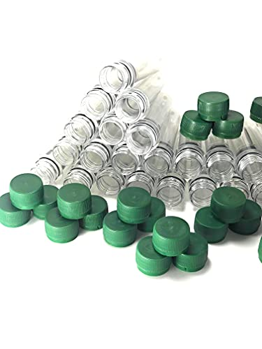 Flocoro 30 unidades de petlingas vacías PET preformadas Petling con tapa verde para geocaching accesorios, impermeable, transparente, preformas, botella en bruto.