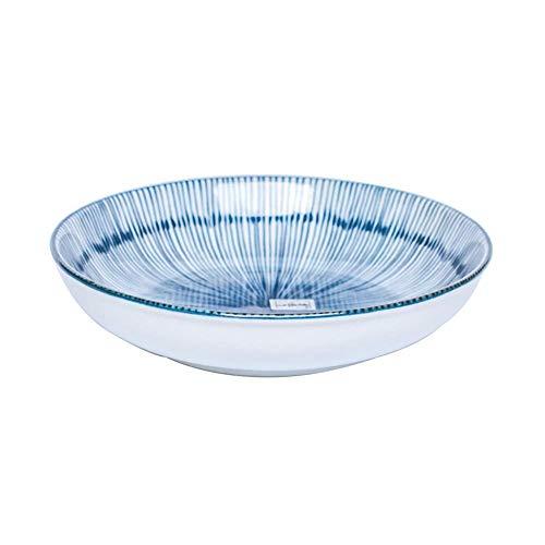 Ensaladera cuencos de porcelana cuencos de cerámica tazón tazón titular de la vajilla cuchara palillos placa de Lotus Pública tazón de flores de plantas vidriado ( Color : Blue , Size : SOUP SPOON )