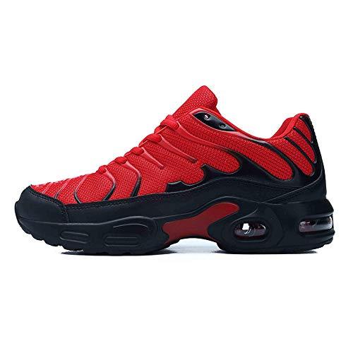 Men's Running Shoes,Zapatos de Gimnasia Zapatos Ligeros,Zapatos de Senderismo Tejidos voladores Ligeros.Transpirables y Deportivos de Gran tamaño-Red_41#