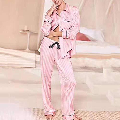 YUHOOE Pyjama Schlafanzug Damen Lang,Seide Pyjamas Frauen Gestreifte Lange Ärmel Set Satin Pyjama Pjs Loungewear 2 Stück Sommer Nachtwäsche Nachtwäsche,Pink,S.