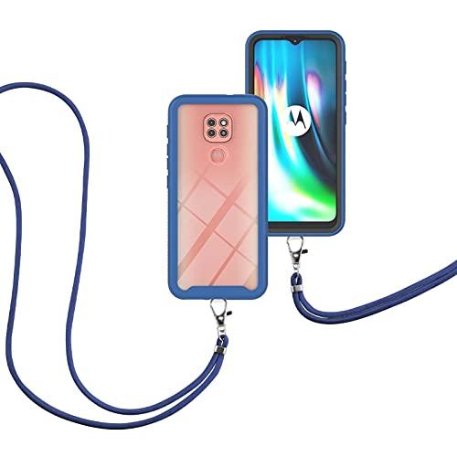 SCRENDY Handyhülle mit Band Handykette für Motorola Moto G9 Play/E7 Plus, TPU Handyhülle mit Kordel-Umhängetaschen Hülle mit Umhängeband Handykordel mit Schutzhülle Silikonhülle-Blau