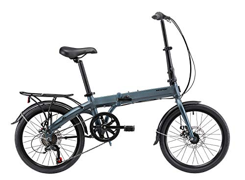 KESPOR K7 Folding Bike for Adults, Women, Men, Rear Carry Rack, Front and Rear Fenders, Shimano 7 Speed Aluminum Easy Folding City Bicycle 20-inch Wheels, Disc Brake (Blue)