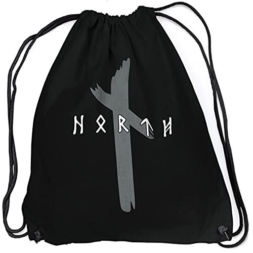 vanVerden North Bolsa – Original Runen Logo Merchandising Vikinger Walhalla Vikings Odin Thor – Mochila & Bolsa de tela, negro / gris, Talla única