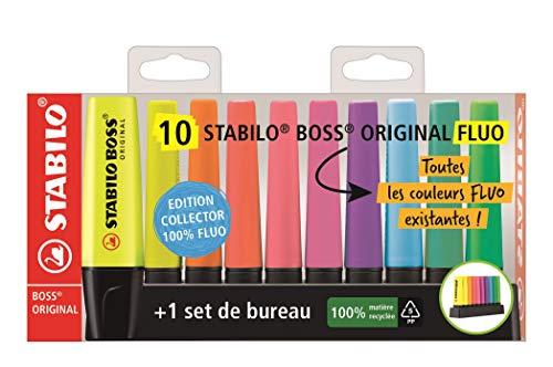 Stabilo Evidenziatore - BOSS ORIGINAL Desk-Set - Edizione 100% FLUO - 10 evidenziatori