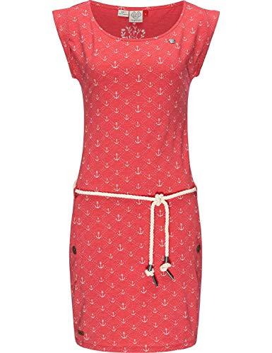 Ragwear Damen Kleid Dress Baumwollkleid Jerseykleid Sommerkleid Freizeitkleid Tag Marina Red Gr. L