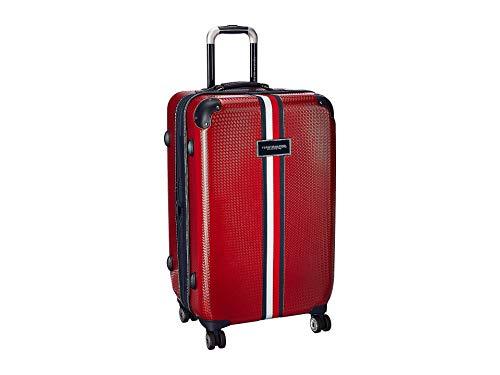Tommy Hilfiger Basketweave - Maleta vertical de 25 pulgadas, color rojo, talla única