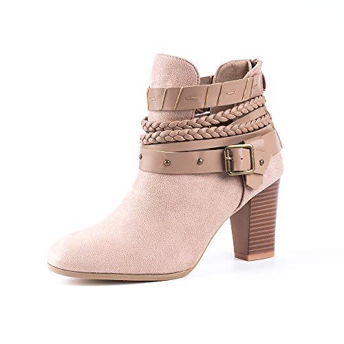 Damen Stiefeletten Wedge Schnalle High-Heels Reißverschluss Stiefel Chelsea Schuhe Herbst Römische Trichterabsatz Outdoor Frauen Ankle Boots 8cm Grau 41