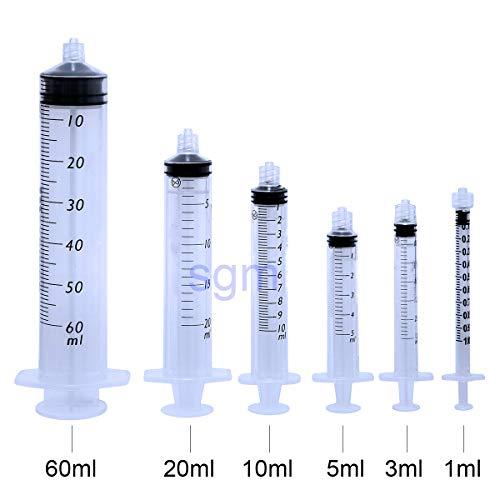 SGM Jeringas con conexión cónica LUER LOCK desechable estéril sin aguja (paquete de 60 ml de 25 piezas)