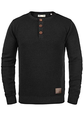 !Solid Terrance Herren Strickpullover Feinstrick Pullover Mit Rundhals Und Knopfleiste, Größe:L, Farbe:Black (9000)