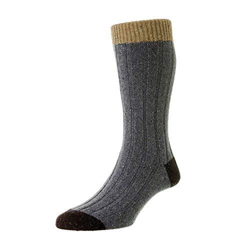 Scott Nichol Thornham 6x2 Rib Socks - Denim Marl Denim Fleck Large