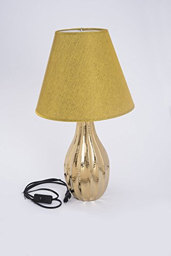 Tischlampe aus Keramik gold glasiert mit goldenem Lampenschirm D'oro