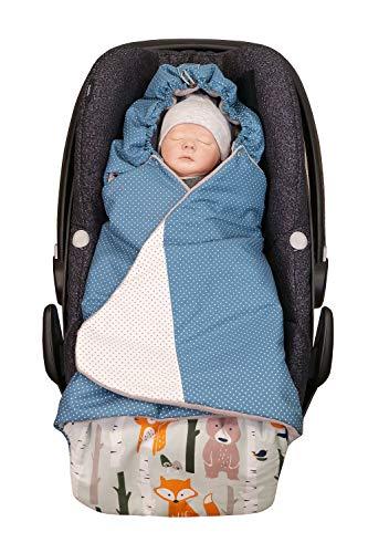 ULLENBOOM ® Einschlagdecke Babyschale Waldtiere Petrol (Made in EU) - Babydecke für Autositz (z.B. Maxi Cosi ®), Babywanne oder Kinderwagen, ideale Decke für Babys (0 bis 9 Monate)