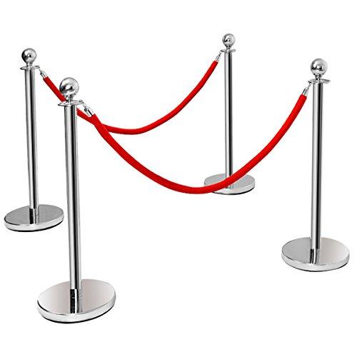 Dreamade 4 Stück Absperrständer Personenleitsystem Edelstahl, Abgrenzungsständer mit Rote Seile 1,5 m, Absperrbänder mit Ständer, Absperrpfosten Absperrung Gurtpfosten, Silber