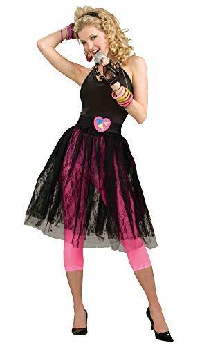 Woman's 80's Pop Star Skirt, Black, One Size stretchy Waist
