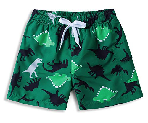 ALISISTER Dinosaurier Badehose Jungen 3D Lustig Printed Badeshorts Kinder Swimshorts Schnell Trocknend Hawaii Hose Mit Mesh Lining