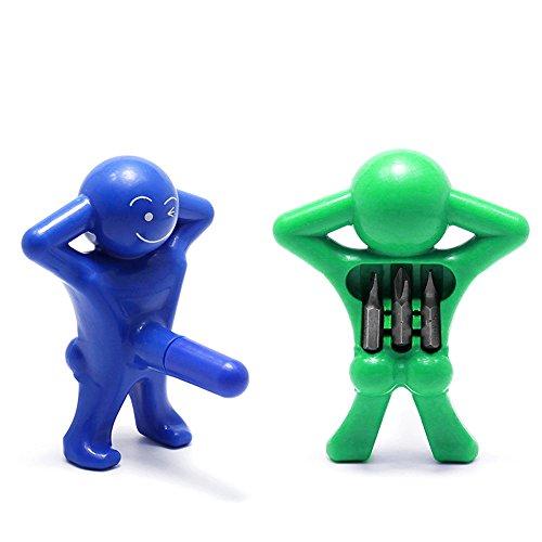 "Multi-head Screwdriver,Mini Screwdriver Man Tools by YZMY TOOL,1/4"" Head (green and blue)"