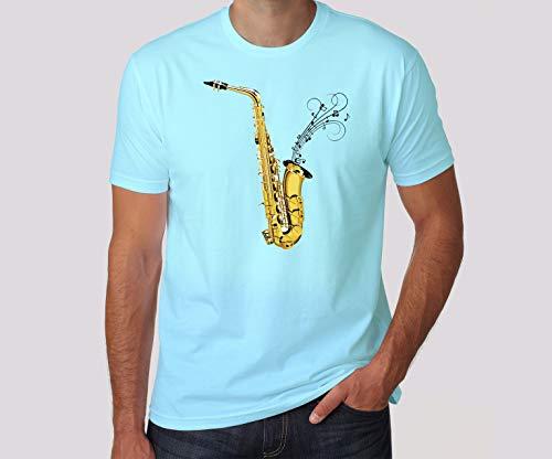 Camiseta Saxofone Instrumentos Musicais (M, Cinza)