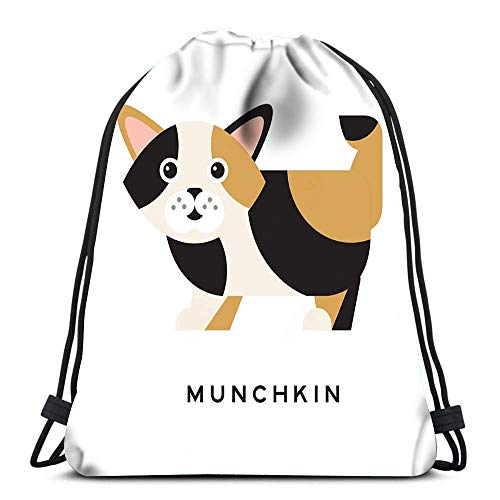 BOUIA Kordelzug Taschen Rucksack Munchkin Kätzchen Mit Maulkorb Cartoon Hauskatze Charakter Wunderbare Kreatur TriFu Travel Gym Taschen