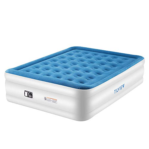 TILVIEW Queen Size Air Mattress, Blow Up Elevated Raised Air Bed Inflatable Airbed with Built-in Electric Pump, Storage Bag and Repair Patches Included, 80 x 62 x 18.5 Inches, Blue, 2-Year Guarantee
