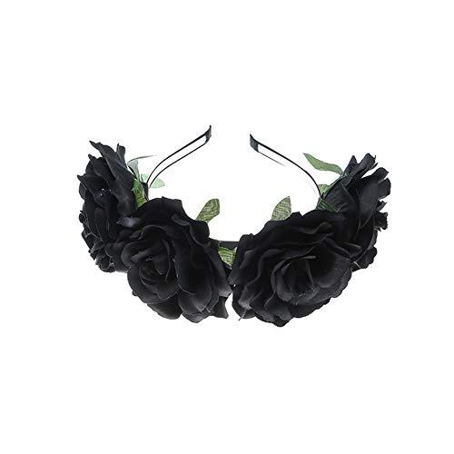 Yazilind Tuch Big Rose Flower Stirnband Stirnband Retro Haarschmuck Schwarz