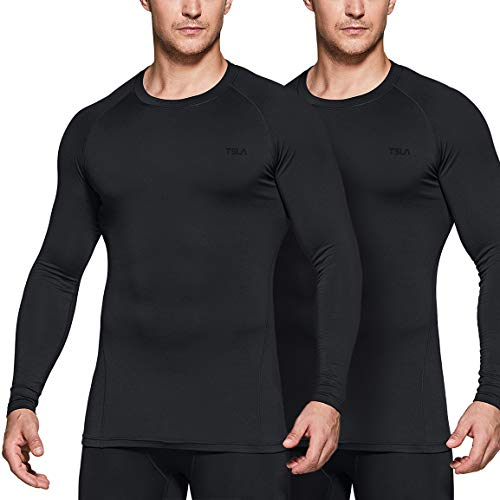 TSLA Men's Thermal Long Sleeve Compression Shirts, Athletic Base Layer Top, Winter Gear Running T-Shirt, Heat Core 2pack(yud40) - Black/Black, Large