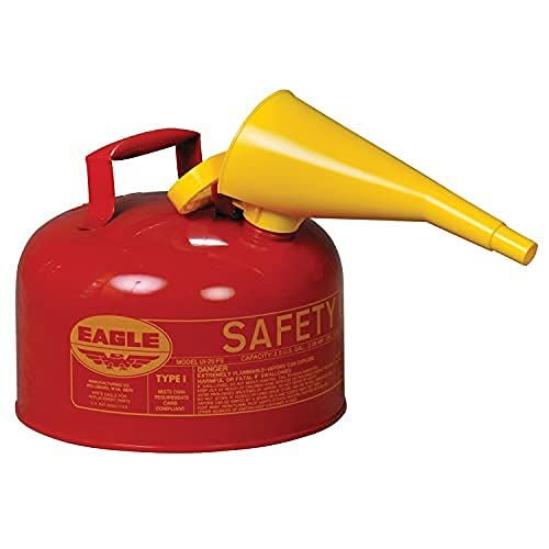 3 Pack of Eagle UI-25-FS Type I Metal Safety Can with F-15 Funnel, Flammables, 11-1/4' Width x 10' Depth, 2-1/2 Gallon Capacity, Red