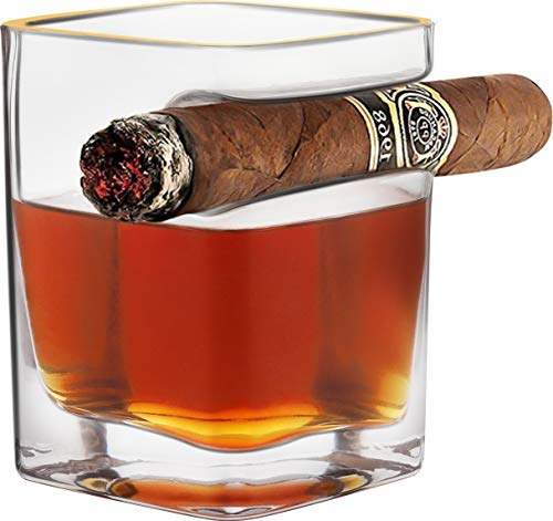 Cigar Whiskey Glass, Old Fashioned Glasses With Indented Cigar Rest Holder, Gifts for Father's Day(Square)