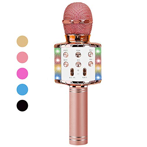 Vailge Karaoke Mikrofon Kinder Drahtloses Bluetooth Mikrofon mit LED Leuchten, Tragbarer Karaoke Maschinen Lautsprecher Kompatibel mit Android/IOS, Kindermikrofon für Musik Spielen KTV Party (Rosa)