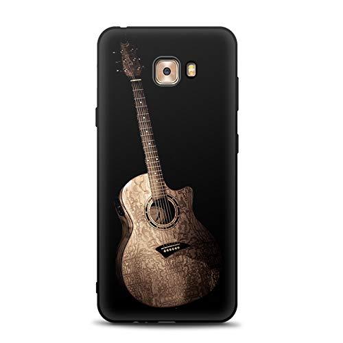 Aksuo for Samsung Galaxy C9 Pro Schwarz Hülle Silikon, TPU Silikonhülle Handyhülle Kratzfest Stylisch Muster Design Robust Leicht Case - Ich Liebe Gitarre