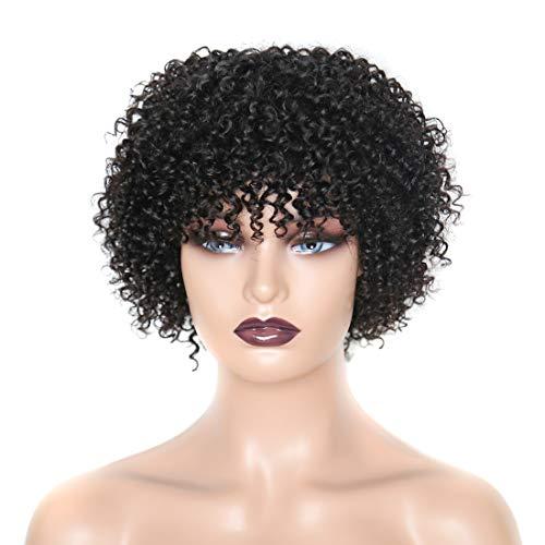 EMOL Hair Short Kinky Curly Wigs Echthaar Perücken für Frauen 8 Zoll Brasilianische Jungfrau Haar kurze lockige Perücke keine Spitze Front Perücke Natürliche Schwarze Farbe