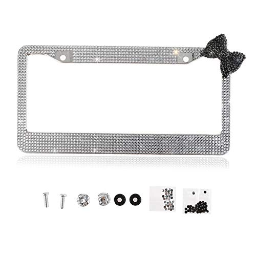 Fashion Sparkle Handmade Clear Frame W/Black Bowknot Bling Crystal License Plate Frame Luxury Rhinestone Premium Stainless Steel Car/Truck/SUV License Plate Holder for Women,Lady,Girls(1 Frame)