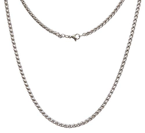 AdiyZ 3/4/5mm Wheat Chain Necklace, Stainless Steel Replacement Chain for Pendant/Charm, Silver/Black/18k Gold Plated Color Jewelry