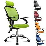 femor Bürostuhl, ergonomischer Schreibtischstuhl, Chefsessel mit Rollen, Bürodrehstuhl mit Verstellbarer Lordosenstütze, Kopfstütze, Armlehne und Rückenlehne, Höhenverstellung, bis 130kg, Grün