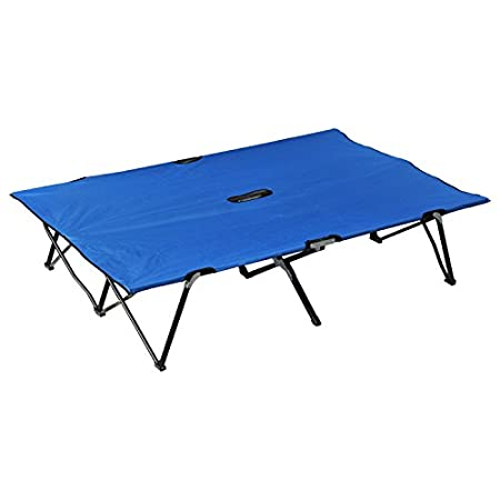 "Outsunny 76"" Two Person Double Wide Folding Camping Cot - Blue."