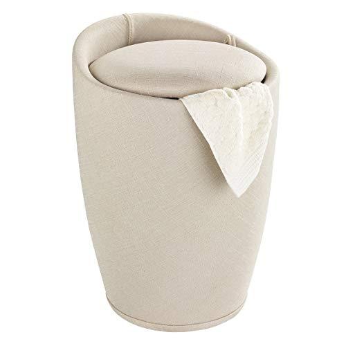 WENKO Badhocker Candy Leinen Optik Beige, Hocker mit Stauraum für das Badezimmer und Wohnzimmer, integrierter Wäschesammler, ABS-Kunststoff, Fassungsvermögen 20 L, Ø 36 x 50,5 cm